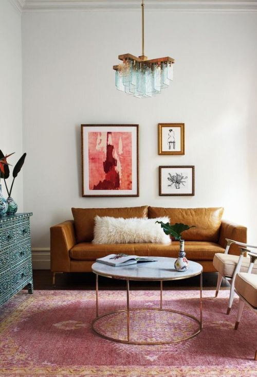 Pink Rug, Brown Leather Sofa, Turquoise Inlay Chest