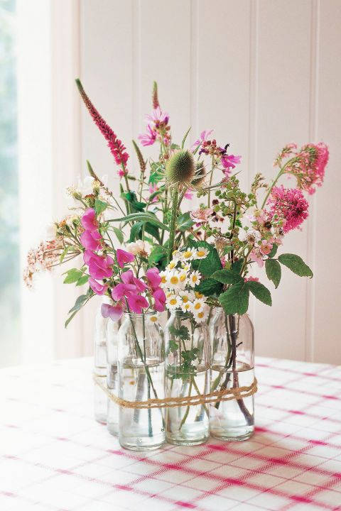 Wildflowers:  Milk bottles filled with wildflowers, a compote of bright lemons, or a bowl of farm-fresh eggs instantly imparts a farmhouse feel.
