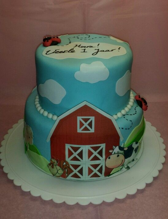 Taart met boerderijdieren  Http://www.sweet-babycakes.nl