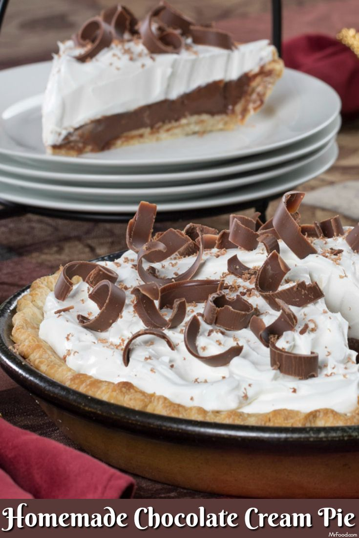 This sinfully rich Homemade Chocolate Cream Pie is a popular dessert no matter when it's served.