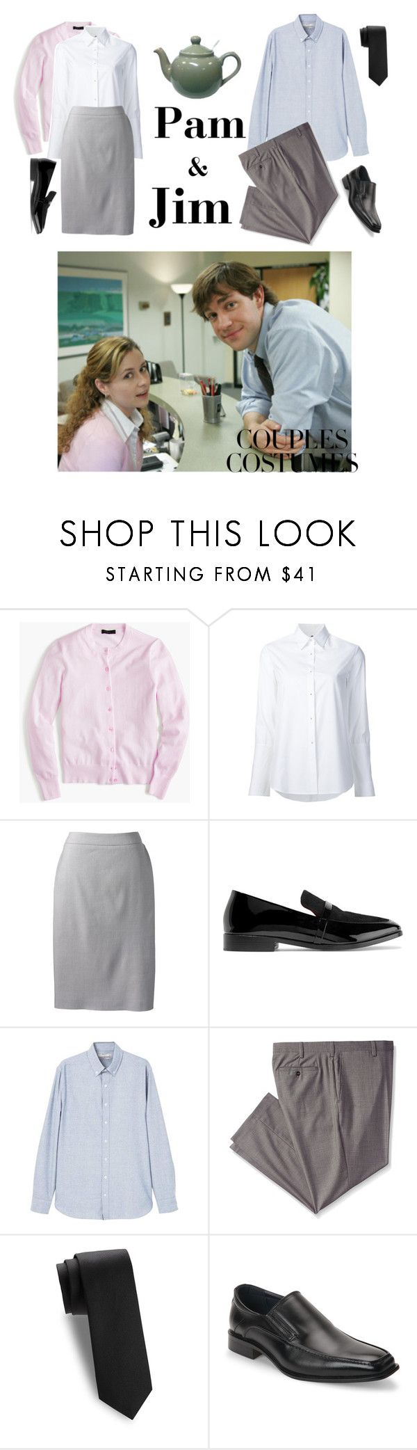 """""""Couple's Costume: Pam and Jim"""" by ghostbustin ❤ liked on Polyvore featuring PAM, J.Crew, Misha Nonoo, Lands' End, NewbarK, MANGO MAN, Louis Raphael, Saks Fifth Avenue and Joseph Abboud"""