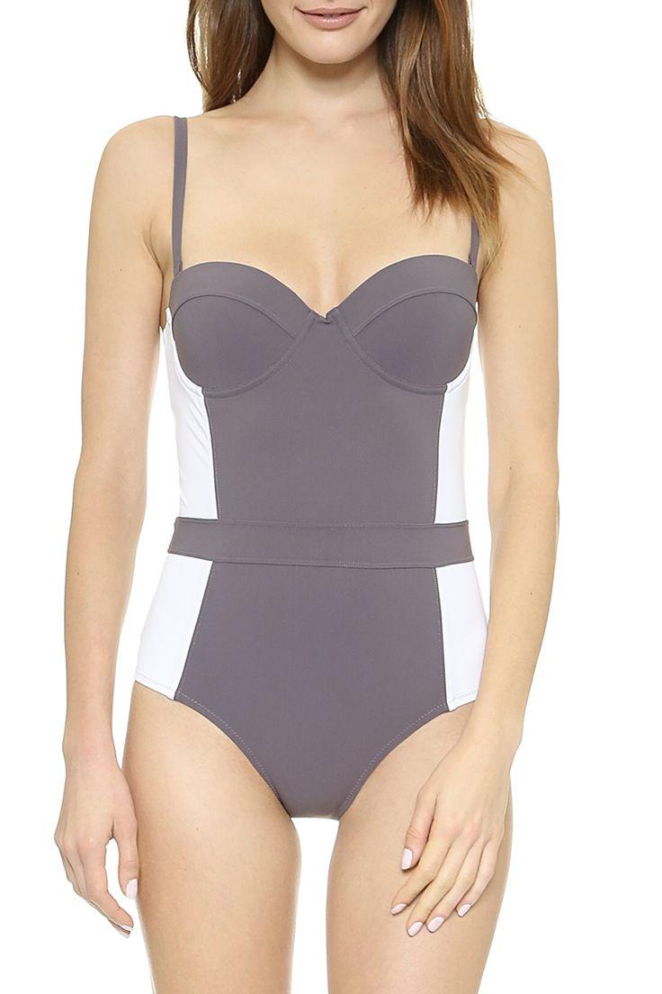 spring / summer - beach style - beachwear - swimwear - one piece swimsuits - grey and white underwire contour swimsuit