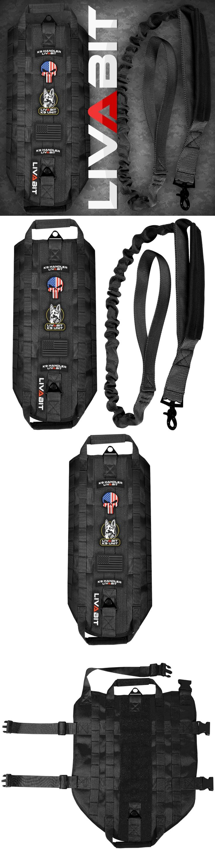 Harnesses 66783: Livabit K9 Dog Tactical Vest Harness Pvc Patch Heavy Duty Bungee Leash Blk Large -> BUY IT NOW ONLY: $47.98 on eBay!