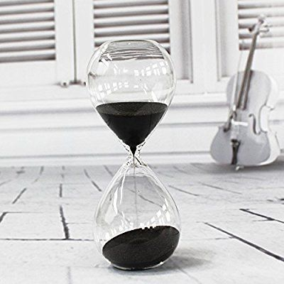 Transparent glass hourglass 10 minutes with (Black)