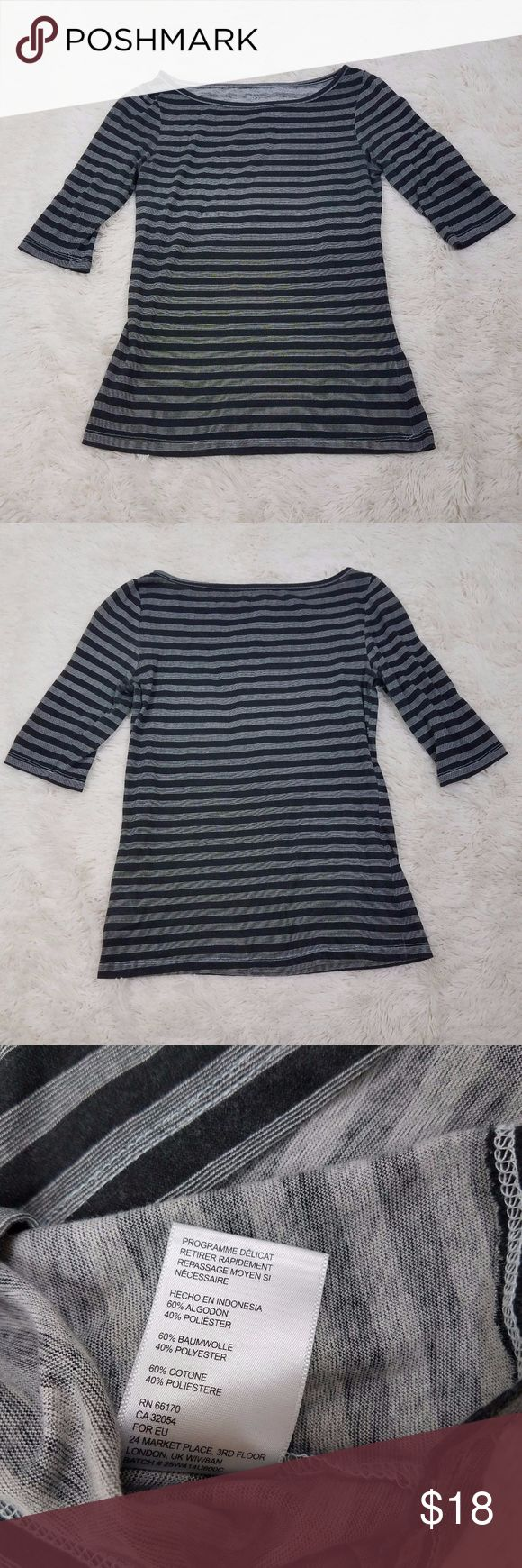NWOT Urban Outfitters BDG Taylor Swift Style Top Up for sale is a casual, Taylor Swift style Urban Outfitters BDG Striped Top, Size Small. This cute top features black and gray stripes, is lightweight (great for layering in the fall!) and features three quarter sleeves. The top has never been worn and is in excellent condition! Bought directly from the Urban Outfitters website. Price is firm. Urban Outfitters Tops