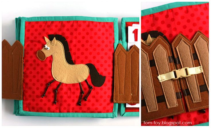 Quiet book for Monroe, handmade, busy book, travel toy, unique gift, horse, buckle gate, развивающая книжка