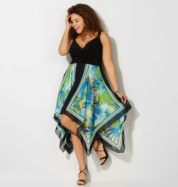 Find a flirty new dress for summer like the plus size Palm Scarf Sharkbite Dress in sizes 14-32 available online at avenue.com. Avenue Store