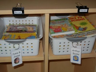 Jumbo clips to label cubbies! Easy and neat when the label needs to be changed -- Great idea!