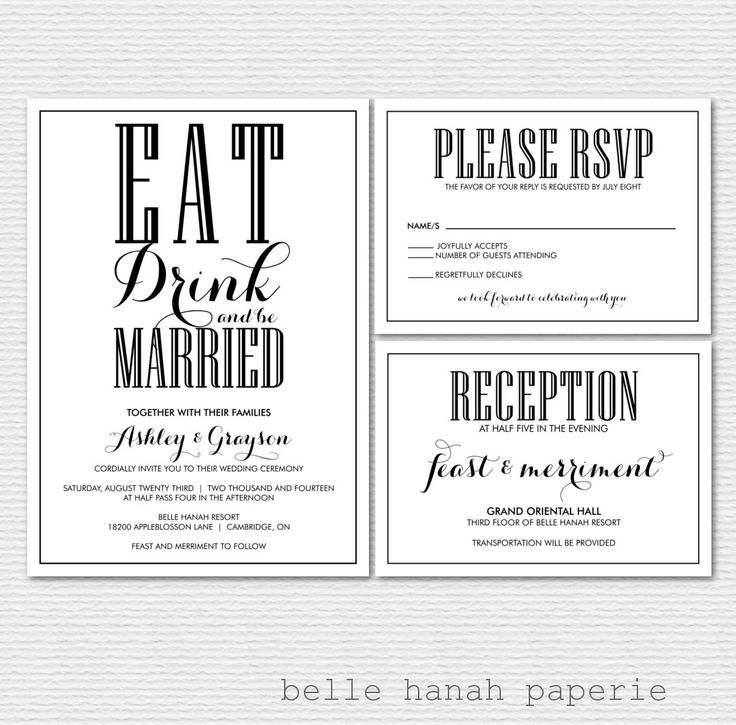 PRINTABLE Wedding Invitation Set   Eat Drink And Be Married Wedding  Invitation And Enclosure Cards   Old Fashion Typography   Custom Colors
