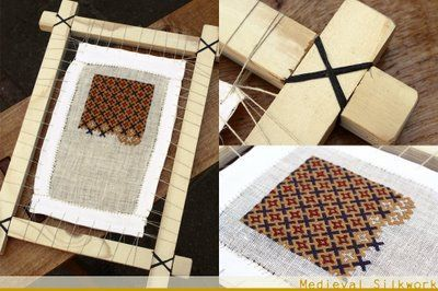 Medieval square embroidery frame. No instructions, but it doesn't look like anything complicated, just some lashing on the corners and anchoring the fabric with thread.  Basic review I might use: http://www.vsccs.com/Hints-Info/basic_cross_stitch_instructions.htm
