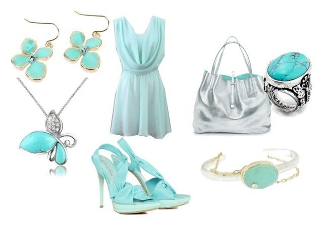 """""""light blue goddess"""" by stylemaven-mcdx ❤ liked on Polyvore featuring Gianvito Rossi, Tiffany & Co., Fantasy Jewelry Box, Del Gatto and Jamie Joseph"""