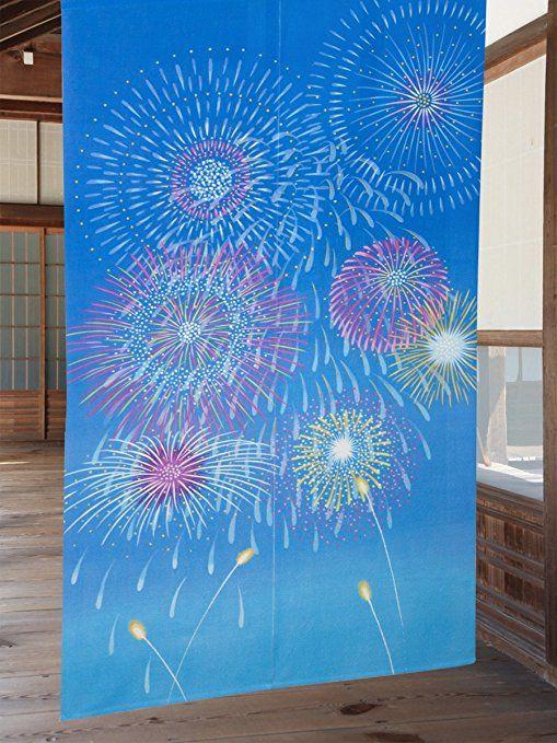 のれん 暖簾 花火 幅85cm×丈150cm