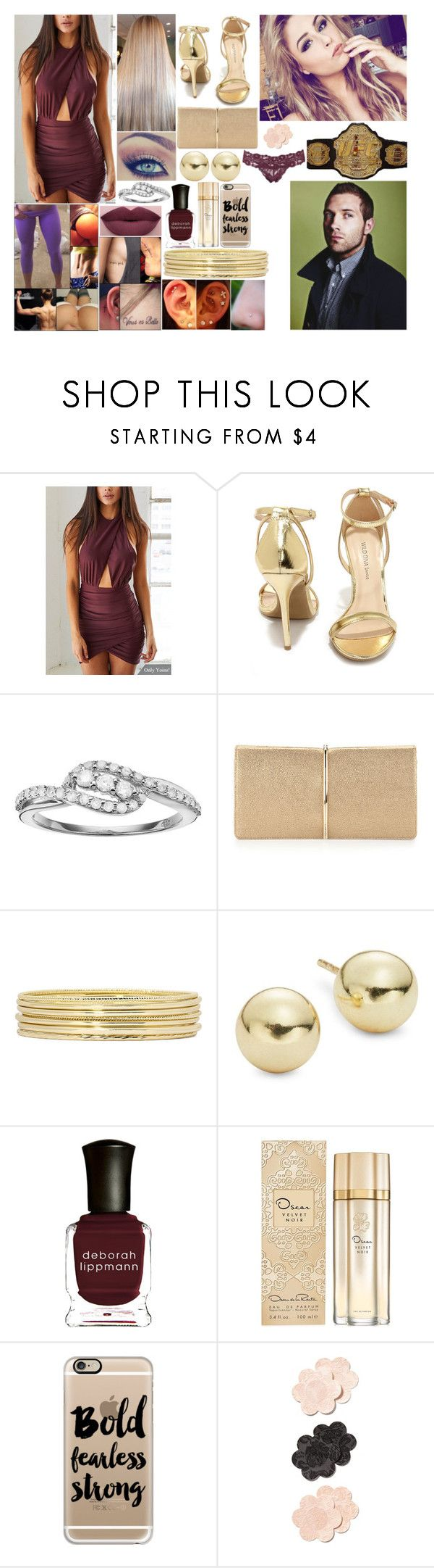 """""""Front row for UFC Fight Night 92"""" by queennikkiufc ❤ liked on Polyvore featuring Wild Diva, NYX, I Promise You, Nina Ricci, Liz Claiborne, Lord & Taylor, Deborah Lippmann, Oscar de la Renta, Casetify and Topshop"""
