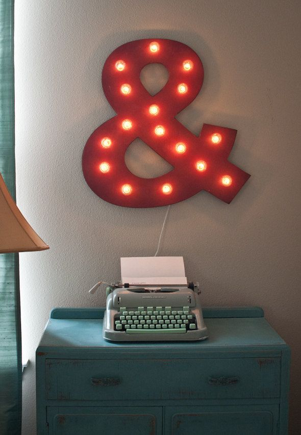 """24"""" Large Custom Ampersand Vintage Distressed Marquee Lighted Wood.... Christmas, Wedding Bedroom Art by JunkArtGypsyz on Etsy https://www.etsy.com/listing/120259729/24-large-custom-ampersand-vintage"""
