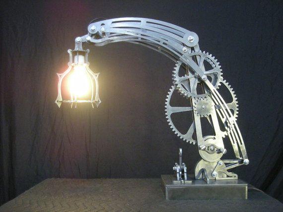 Steampunk steel desk lamp dxf file for CNC plasma cutting