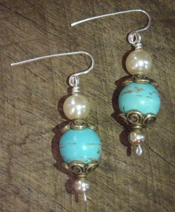 Delicate Confident Earrings  Turquoise copper by BrigittesJewels, $24.00