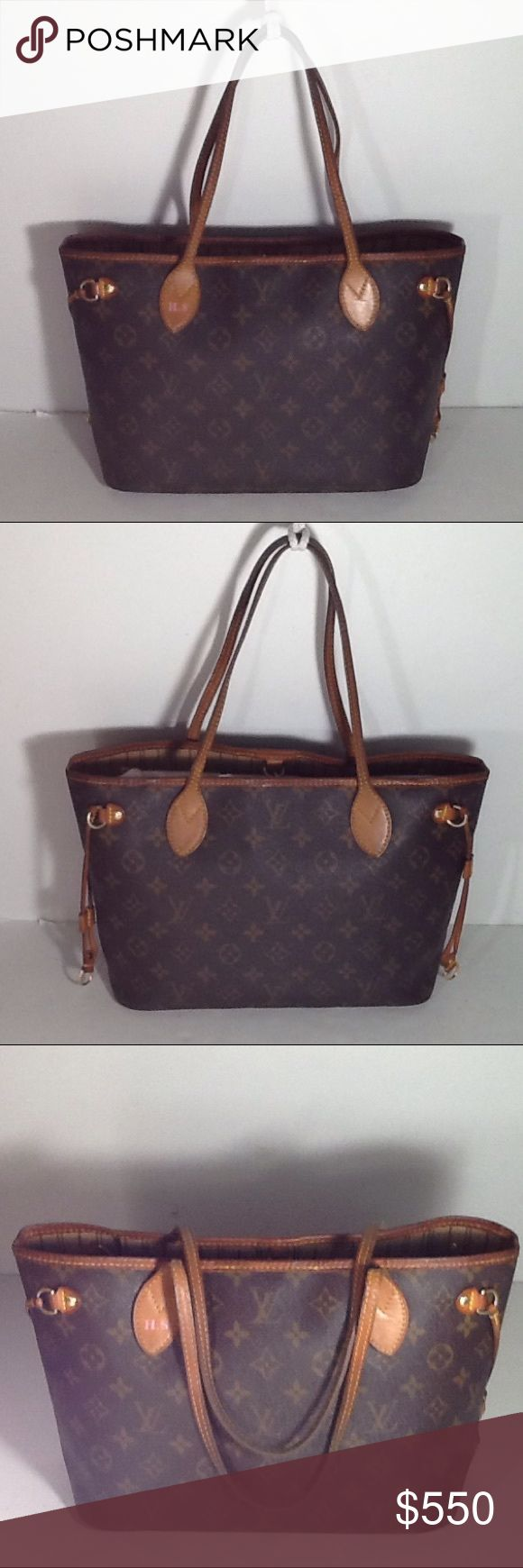 Authentic Louis Vuitton Neverfull PM Monogram Bag. Leather and straps showed signs of used and are darker due to wearing and holding. The top leather part had some cracks. Canvas is good and inside linen had sone stains. The bag was bade in France with a date code M B 0048. The dimension is 8.5, 13 and 5.5. Louis Vuitton Bags Shoulder Bags