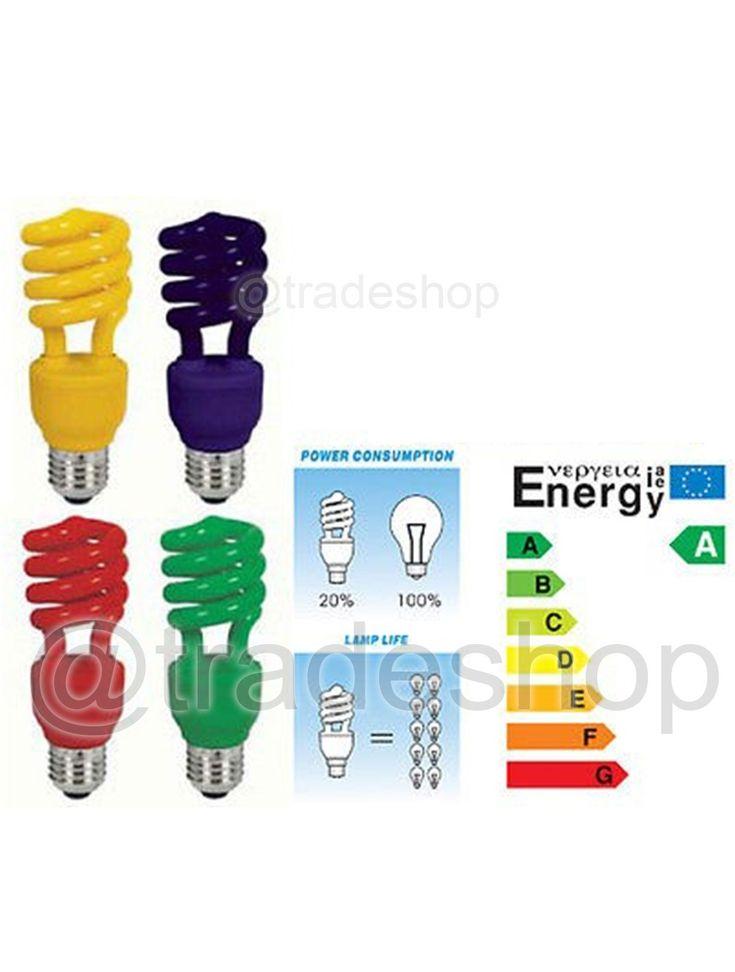 LAMPADINA RISPARMIO ENERGETICO COLORATA 13W BLU ROSSA