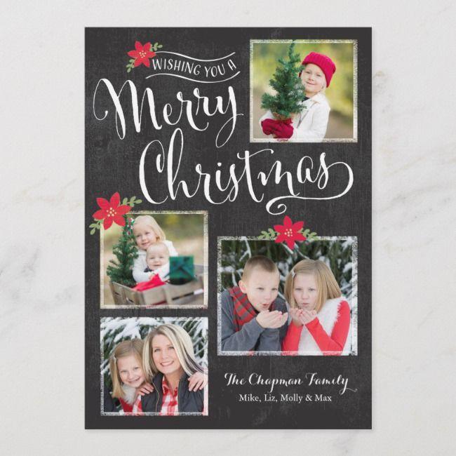 Poinsettia Merry Christmas Photo Card Zazzle Com Merry Christmas Card Photo Christmas Photo Cards Holiday Photo Cards