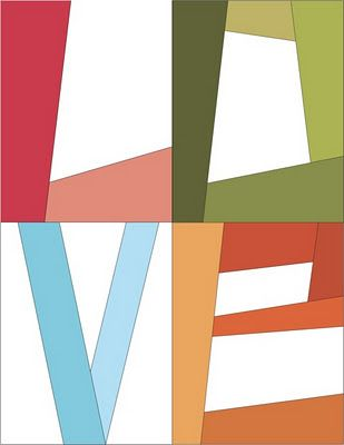 "Free ""LOVE"" letters for foundation piecing"