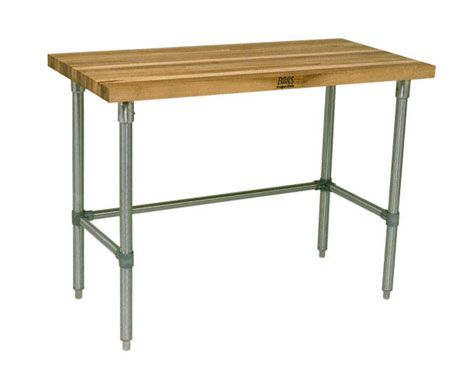 "Work Table, 48""W x 30""D, 1-1/2"" laminated Hard Rock maple flat top, galvanized legs, side & rear adjustable bracing, KD, NSF  Restaurant Depot $324"