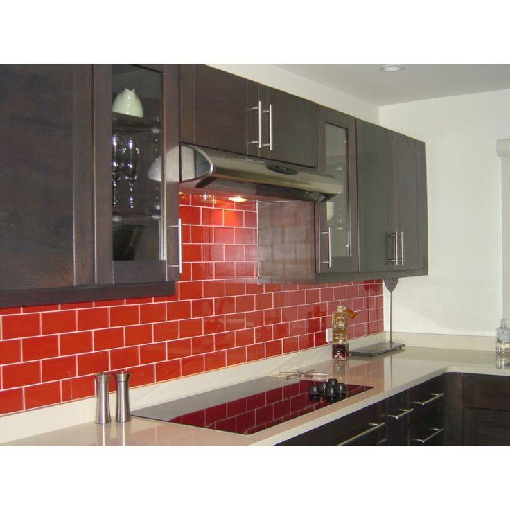 Classic Red Glass Subway Tile in Tomato   Modwalls Lush 3x6 Tile #kitchensplashbacks #tiles #red