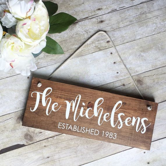 Last name Sign- Personalized family sign - Front door Sign - Established Sign - Wood Name Sign - personalized Wedding gift - Anniversary