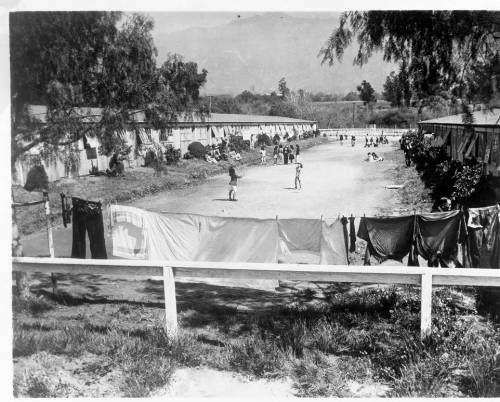 """Page 1 :: """"General view of Japanese internment camp at Santa Anita Race Track.  With removal of the Nipponese the Army will utilize the camp, thus preventing hoped for renewal of racing.""""--caption on photograph :: Japanese American Relocation Digital Archive, 1941-1946. http://digitallibrary.usc.edu/cdm/ref/collection/p15799coll75/id/1791"""