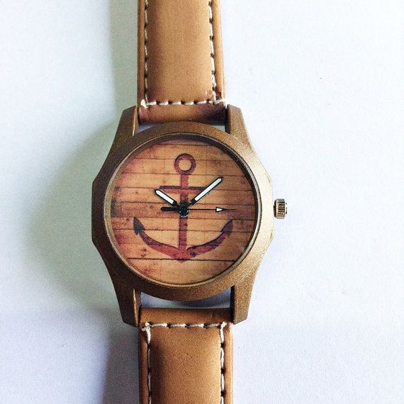 Anchor Watch  Vintage Style Leather Watch Retro Watch by FreeForme, $15.00