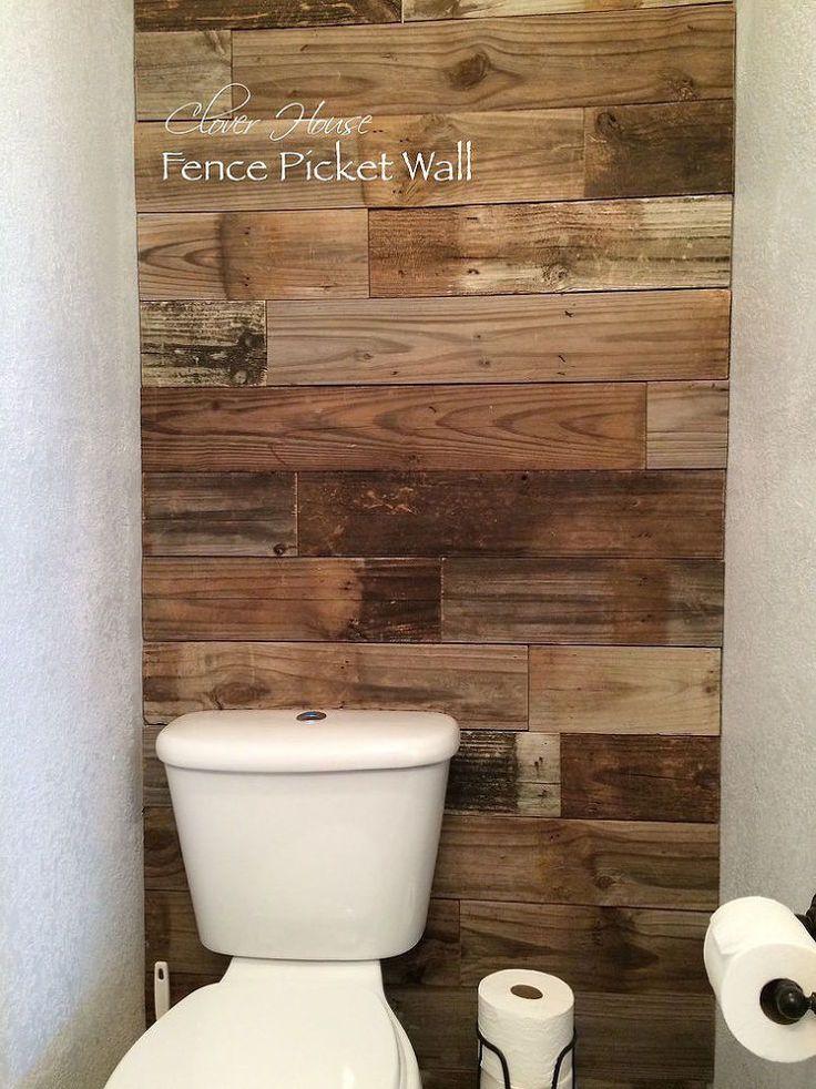 Hometalk :: Bathroom Fence Picket Wall behind toilet area.