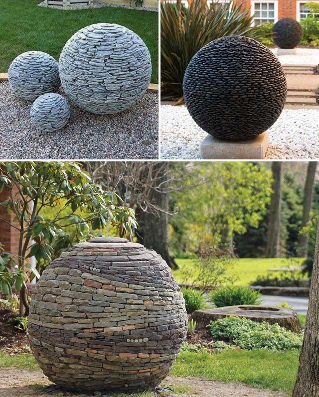 Erstellen Sie Gartenbälle aus Hunderten von Schiefer- oder Flusssteinen, die geradezu m