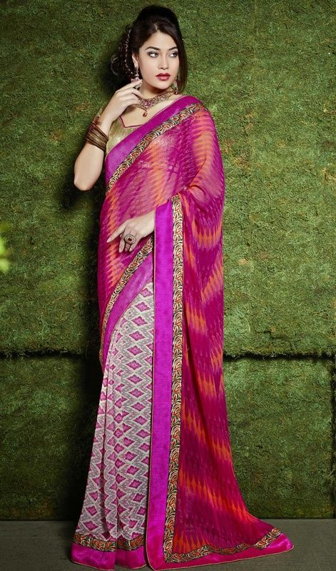 True beauty will come out as a results of the dressing trend with this off white and pink georgette printed half n half sari. This attire is nicely developed with block print and lace work. Upon request we can make round front/back neck and short 6 inches sleeves regular saree blouse also. #NewPrintedDesignerSarees