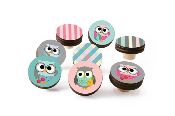 Colorful dresser Drawer Knobs, Turquoise, Pink,and Grey Owl  Drawer Knobs -set of Wood Knobs 1.8 inch