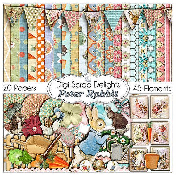 Peter Rabbit Digital Scrapbook Kit, Instant Download, Beatrice Potter Clip Art