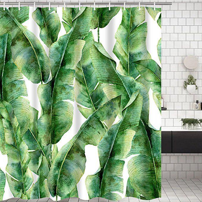 Modern Timesm Bathroom Shower Curtain Green Leaves Bathroom