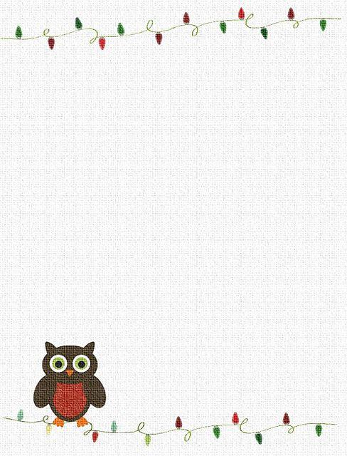 Printable owl christmas stationary