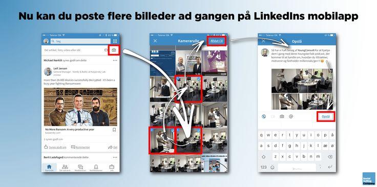 Nu kan du poste flere billeder ad gangen på LinkedIn mobilapp. Lige nu er funktionen kun at finde på iOS udgaven af LinkedIn mobilapp'en, men følger snart på Android mobilapp'en og desktop udgaven af LinkedIn.  Dermed fortsætter LinkedIn med at tilbyde funktionalitet, der minder om det vi har på Facebook og andre sociale medier, hvilket er meget positivt 😊  Så bliv endelig ved, kære LinkedIn 🙏  PS: Kan vi snart få lov til at redigere opslag på vores Company Pages? 😉
