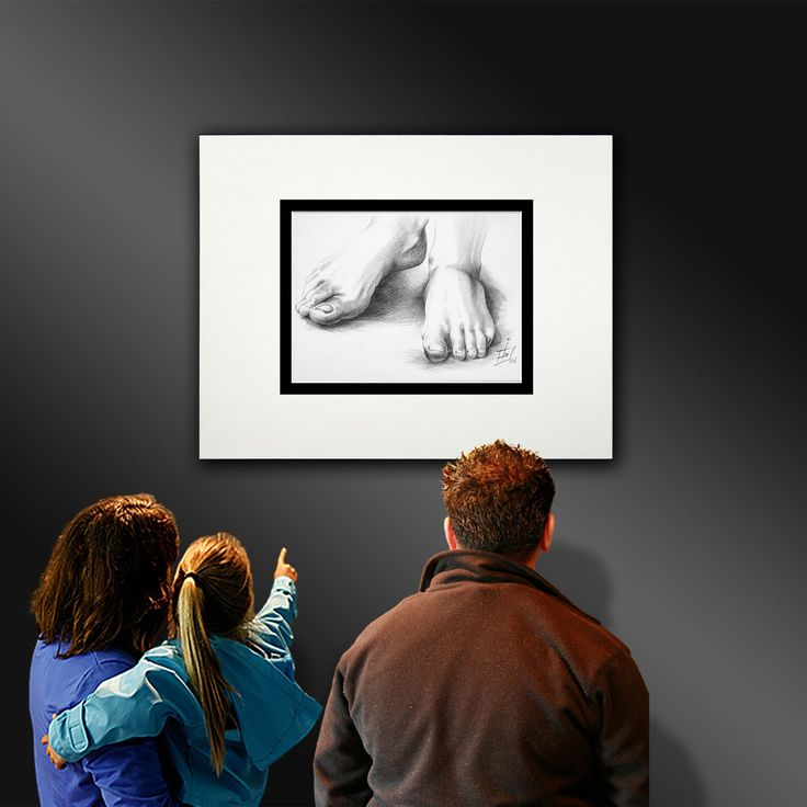A pencil illustration of a person's feet, being showcased in an art gallery. http://ianandersonfineart.com/blog/