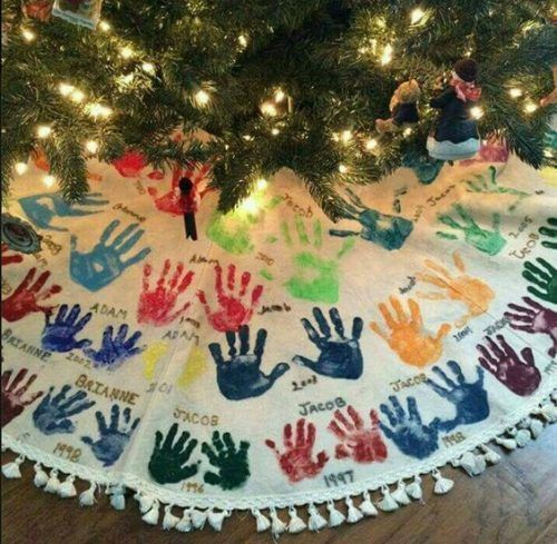 Watch the kids grow with this Tree Skirt Hand-print Tradition. 25 Christmas Traditions to start right now and pass down for years to come on Frugal Coupon Living.