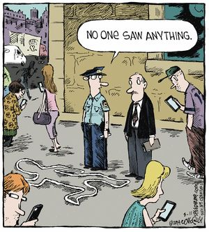 """Speed Bump"" by Dave Coverly ~ Digital Zombies not Witnessing Crime"