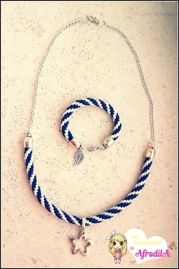 Conjunto de Collar y Pulsera de kumihimo en tonos azul y blanco con colgante de estrella en plata