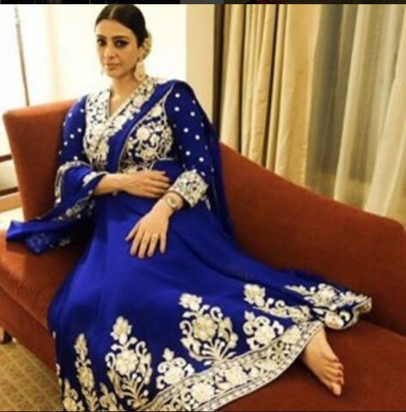 Tabu A Bollywood Actress In A Royal Blue Anarkali Designed By Sandeep.For this dress drop a mail at contact@ladyselection.com