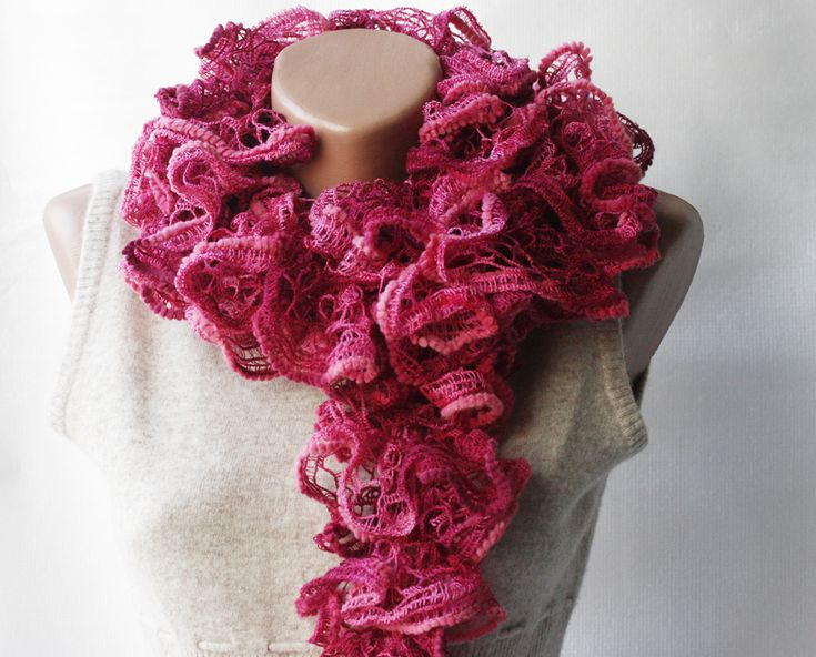 Pink burgundy knit scarf - magenta wine colored frilly Winter accessories