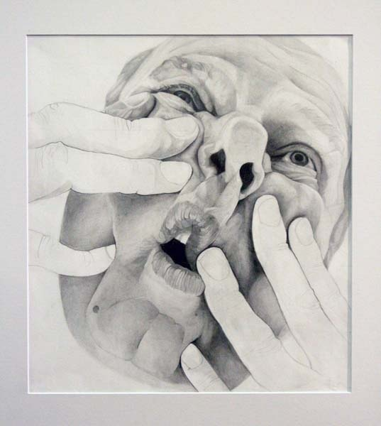 As our desire to attain an idealized human form intensifies we become increasingly uncomfortable with deformity and mutation. My works focus on the power distortion can have on faces, removing any sense of recognisability and familiarity, transforming them into something else. By presenting super realist portraits of distorted forms I aim to uncover the beauty of the grotesque. Drawing with graphite allows for an attention to detail and control no other medium provides. Using such a refined…