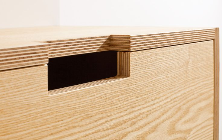 plywood wall mounted sideboard detail
