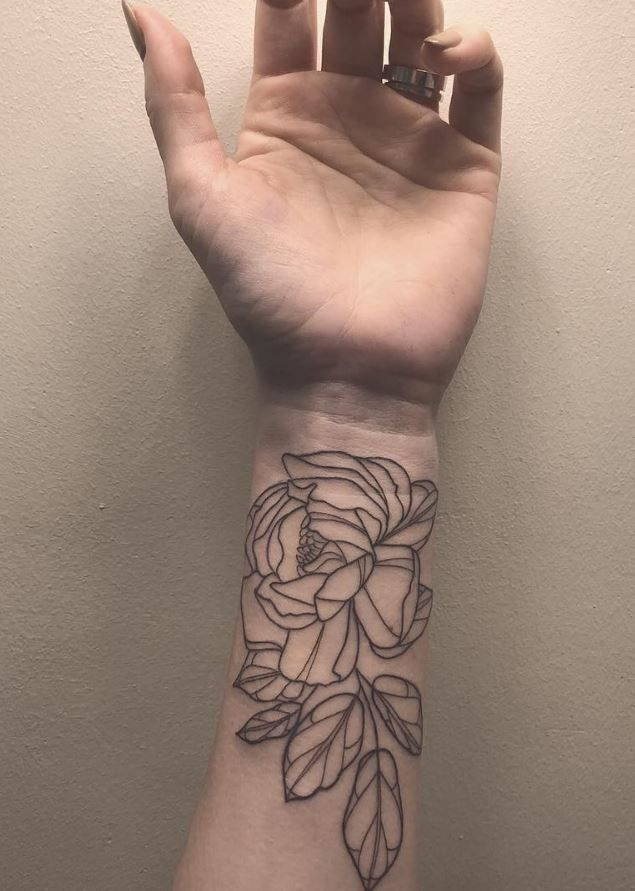 Black Flower Wrist Tattoo Flower Tattoos Pinterest Wrist