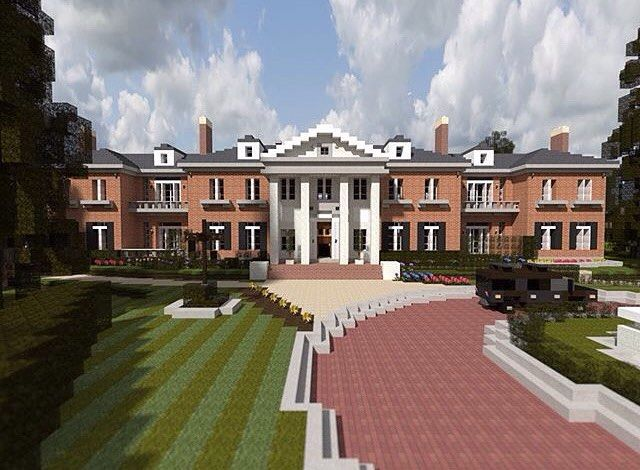 realistic minecraft mansion when i first saw this in a quick glance i thought it was real but got duped if you came across this house what do you think