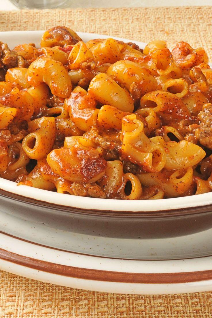 Tex Mex Ground Beef Chili Macaroni Casserole Recipe with Red Pepper ...