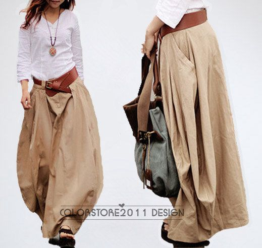 Cool Baggy Maxi Skirt Linen cotton Skirt Day by colorstore2011, $65.99