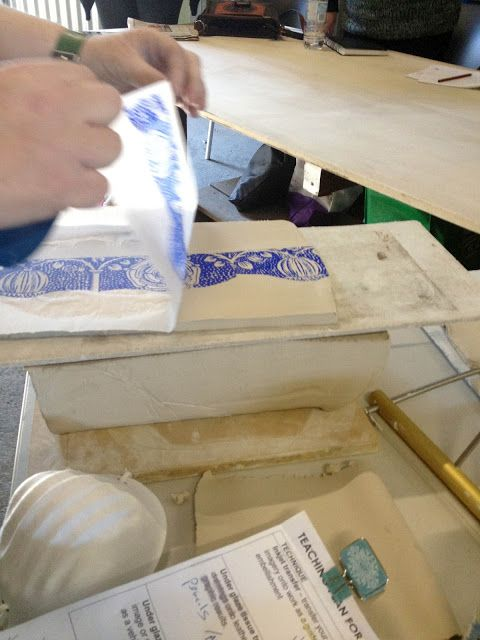 ELAINE BRADLEY: Printing on clay, again. Great overview of how to apply your own drawings to tissue paper to make an underglaze transfer